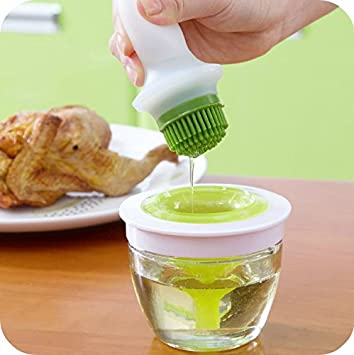 Buycrafty Chefs Basting Set Silicone Oil Brush Handy Kitchen Tool Grill Oil Bottle Brushes Tool Silicone