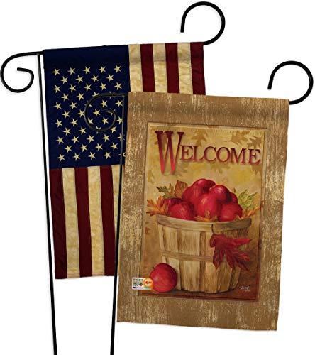 Breeze Decor GP117042-P3AA Welcome Apple Basket Food Fruits Impressions Decorative Vertical 13