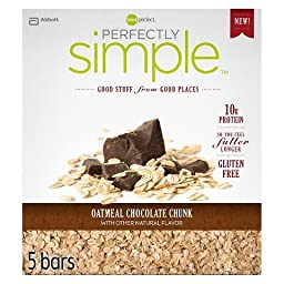 Zone Perfect Perfectly Simple Oatmeal Chocolate Chunk, 1 Pack of 5 Bars (Pack of 3)