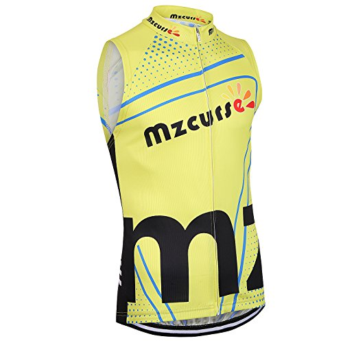 (Mzcurse Men's Team Mountain Bike Cycling Short Shirt Jersey Shorts Suit Kit Set (Yellow Vest, XX-Large,please check the size chart))