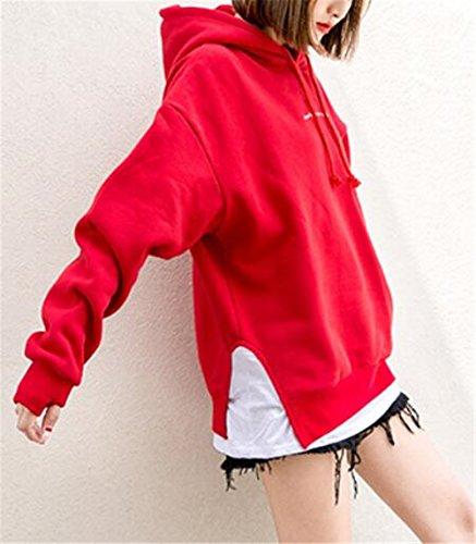Inverno Moda Slim Oversize con AILIENT Elegante Tops Maniche Cappotti Cappuccio Hoodie Pullover Lunghe Felpe Red Casual Donna Autunno Ricamato Sweatshirt 56OwqX0O