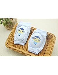 Baby Knee Pads Elastic Anti-Slip Breathable Protector for Crawling Breathable Mesh Cushion Comfortable Elastic Protector(Blue)