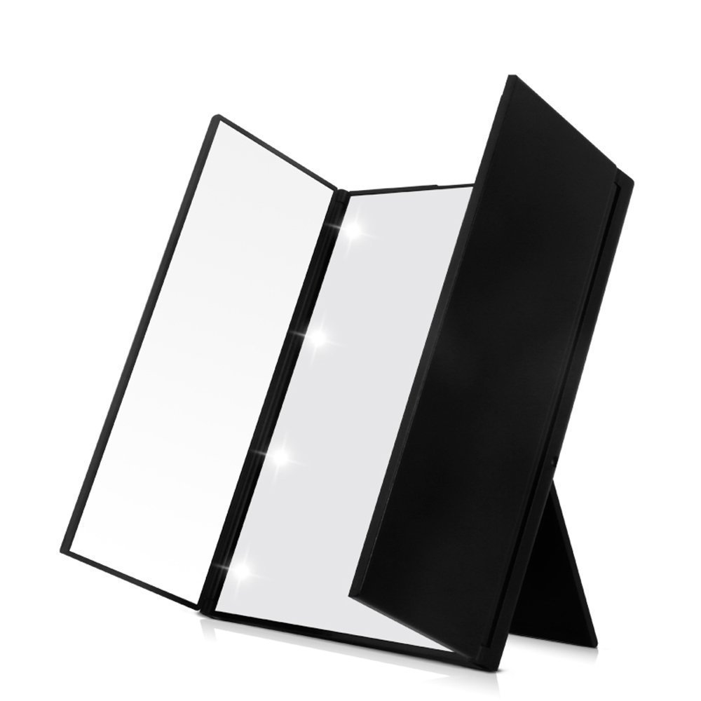 FLYMEI Premium Tri-Fold Led Lighted Travel Makeup Mirror, Portable and Compact Cosmetic Mirrors, Pocket Vanity Mirrors with Adjustable Stand (Black)