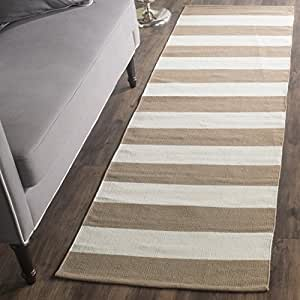 "Safavieh Montauk Collection MTK712M Handmade Flatweave Sand and Ivory Cotton Runner (2'3"" x 7')"