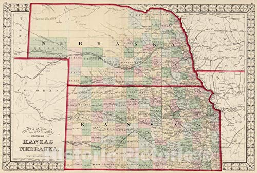 - Historic Map | National Atlas | 1874 County & Township Map of the States of Kansas and Nebraska. | Vintage Wall Art | 44in x 30in