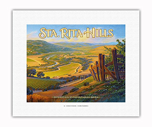 Pacifica Island Art - Sta. (Santa) Rita Hills Wineries - Central Coast AVA Vineyards - California Wine Country Art by Kerne Erickson - Fine Art Rolled Canvas Print - 11in x 14in