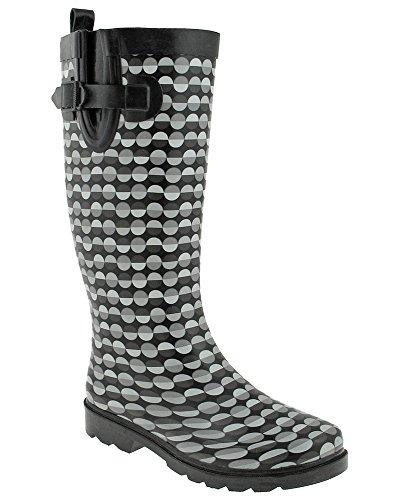 New Ladies Print Boot Split Rain Dot Tall Lines York Combo Black Capelli d4qHwad