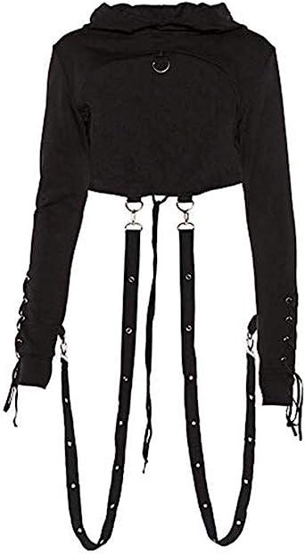 X-Future Womens Long Sleeve Zip Up Goth Plus Size Punk Sweatshirts Hooded Tops