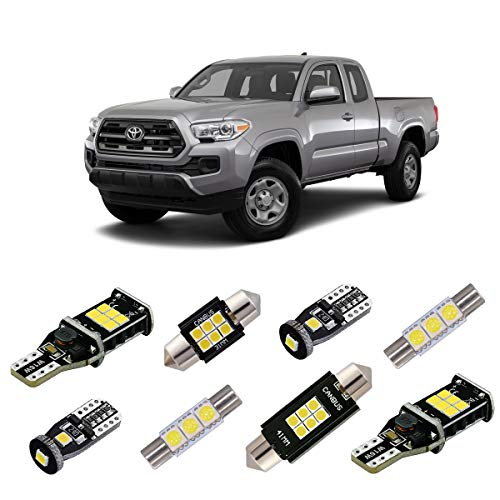 iBrightstar 2005+ Toyota Tacoma Super Bright Canbus LED Bulbs Package Kit replacement for Interior Map Dome Lights + Vanity Mirror Lights + License Plate Lights + Back Up Reverse Lights, Xenon White ()