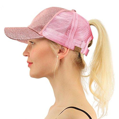 C.C Ponytail Messy Buns Trucker Ponycaps Plain Baseball Visor Cap Dad Hat Glitter Pink