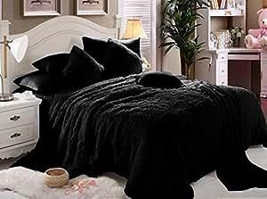 Comfy Luxe Faux fur 6 Pieces Blanket Comforter Set, King, Black