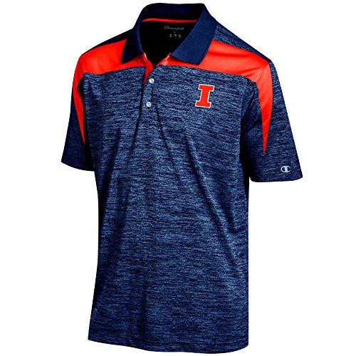 Illinois Tailgate Golf (NCAA Illinois Illini Men's Boosted Stripe Color Blocked Polo, Small, Navy)