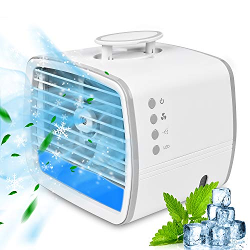 RIRGI Portable Air Conditioner, Personal Air Cooler, 4-in-1 Evaporative Conditioner Fan, Mini USB Cooling Fan with 7…