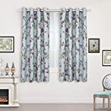 Room Darkening Curtains for Girl's Room -Lucky Bird Vintage Printed Window Drapes with Flower Patterns, Metal Grommets Top, 2 panels (52″Wx63″L, BLUE)