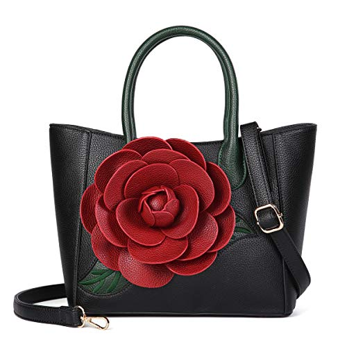 Women Handbag 3D Flower Seris PU Leather Purse Tote Medium Crossbody Bag By Vanillachocolate (Medium, Grain Black)
