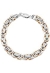 "7.5""8.5""9.5"" Men Stainless Steel Gold Silver Two Tone Greek Key 6mm Byzantine Box Link Bracelet..."