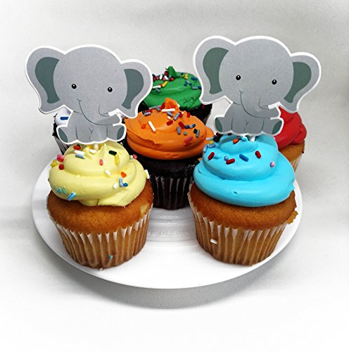 Price comparison product image Elephant Baby Cupcake Toppers (set of 24) - for jungle themed birthday or baby shower