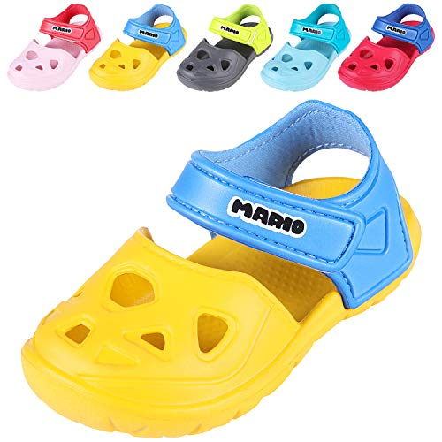 Comwarm Baby Girl Boy Summer Shoes Closed Toe Lightweight Sandals Anti-Slip Beach Shoes for Toddler 1-5 Years Old YL16 Yellow (Shoe Size For 2 Year Old Boy)