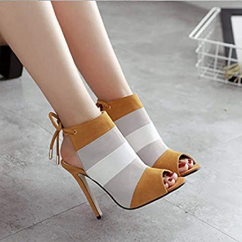 up Stiletto Women's T Slip Ladies JULY Lace on Shoes Heel Pumps Dress Sandals Fashion Brown Rainbow Fashion Ankle High 5Rw7BxwIq