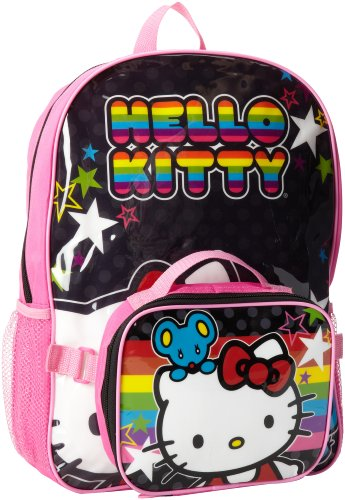FAB Starpoint Little Girls'  Hello Kitty Backpack with Lunch, Black/Pink Multi, One Size ()