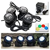 Jebao Submersible LED Pond Light with Photcell Sensor, Set of 4