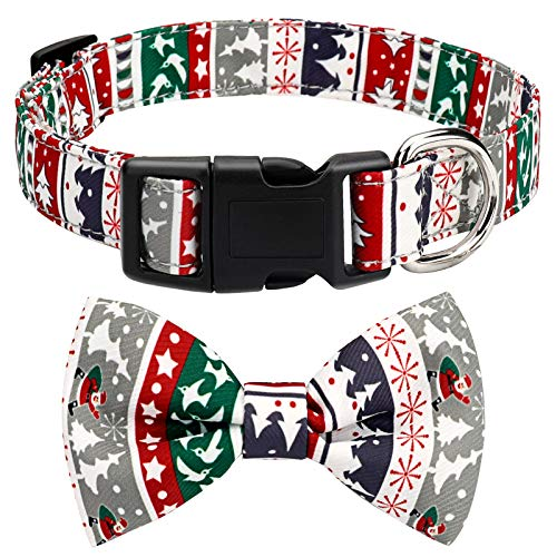 HAOPINSH Christmas Dog Collar Adjustable With Bow Tie Dogs & Cats