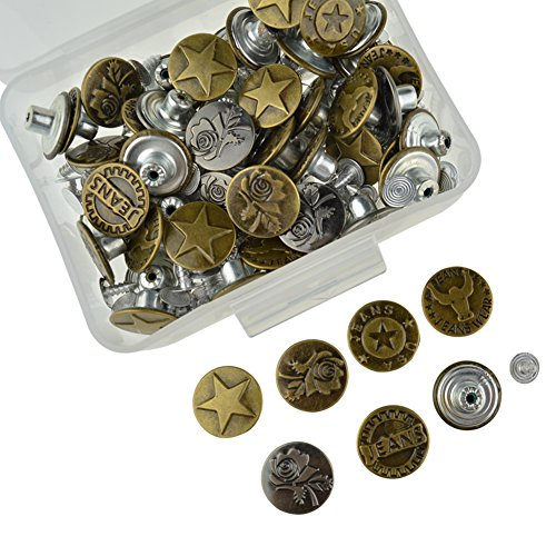 DEWKER 60 Pieces Jeans Button Tack Jacket Buttons Metal Replacement Kit with 60 Pieces Stud Rivet and Storage Box, 6 Styles, Bronze and Silver, 17mm (One Size, Style B)