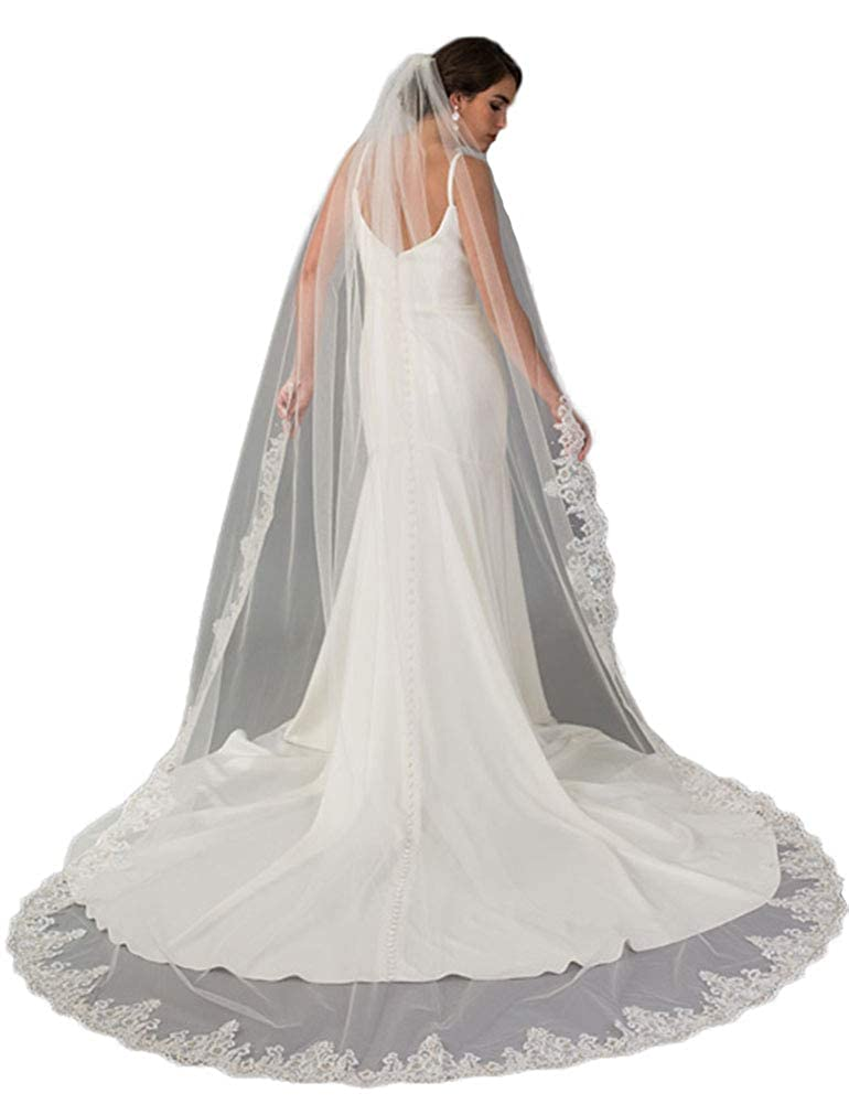 Newdeve Wedding Veils Cathedral 1 Tier White Ivory Lace Edge for Bride with Comb