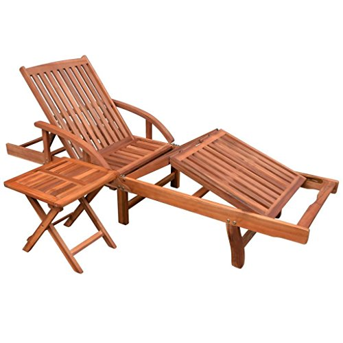 K Top Deal Outdoor Patio Solid Acacia Wood Reclining Sun Chaise Lounge with Side Table, Brown For Sale