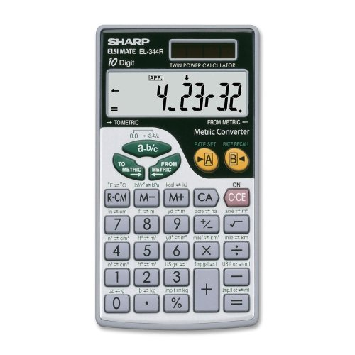 Sharp El344rb Metric Conversion Travel Calculator . 44 Functions . 10 Character(S) . Lcd . Solar, Battery Powered . 2.8'' X 0.2'' X 0'' . Silver ''Product Type: Office Equipment/Calculators''