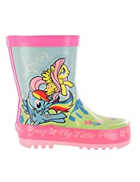 Girls MLP My Little Pony Green & Pink Floral Wellies Wellingtons UK Child Sizes 6 - 12