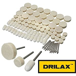 DRILAX 88 Pcs Wool Felt Polishing Buffing Waxing Pad and Head Wheel Set Conical Point and Mandrel Kit Fit Dremel Wen Rotary Tools