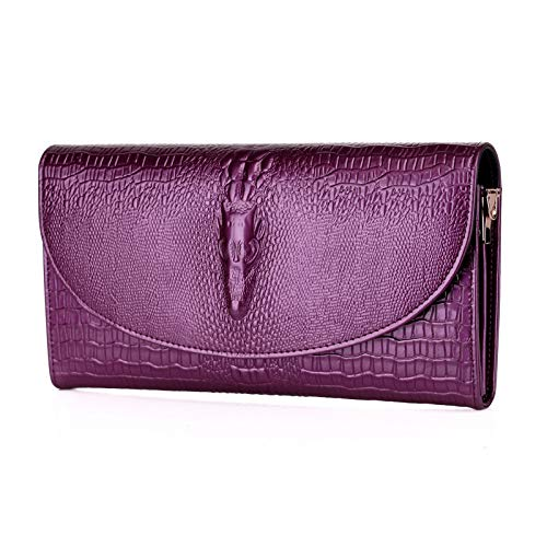 à Fashion DHFUD Chain Dinner Crocodile PU Pattern Sac Femme Purple Main En awqCZ6xw