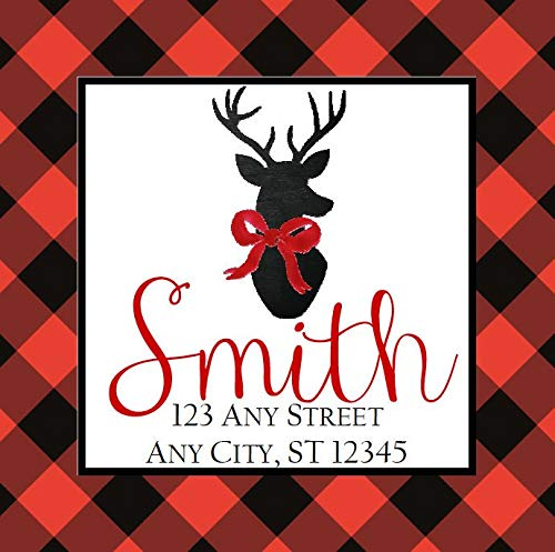 bels Red Black Buffalo Check Reindeer Square Stickers Gifts Address Labels 2.5 Inches with 15Pcs ()