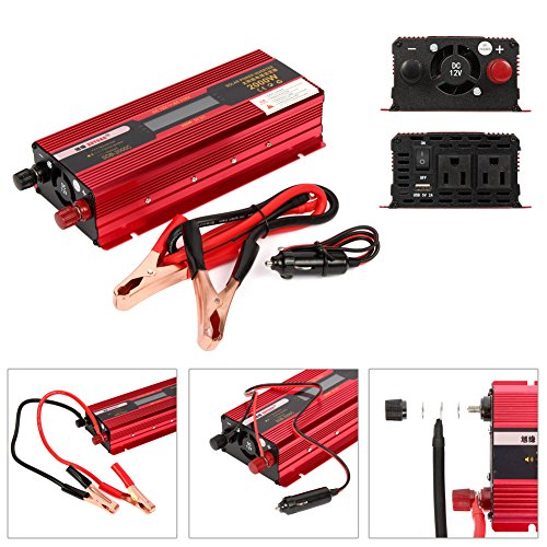 TopGain Peak 2000W Modified Sine Wave Inverter 12V DC to 110V AC Car Charger with 2 AC Outlets 2A USB Port