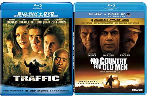 Traffic Blu Ray & No Country for Old Men Digital HD 2 Pack Crime Mystery Thriller Movie Set