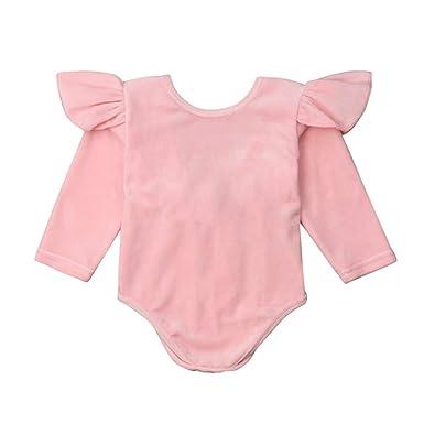 563d15bcb5c5 Amazon.com  DuAnyozu Cute Toddler Baby Girls Velvet Romper Bodysuit ...