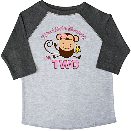 inktastic - Little Monkey 2nd Toddler T-Shirt 3T 3/4 Sleeve Heather Smoke (Birthday 3/4 Sleeve)