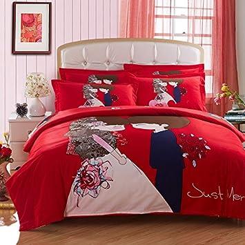 Zyjyliebhaber Reiner Baumwolle Red Hochzeit Vier Stucke Betten