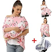 Mother's Nursing Cover, Multi-Use Baby Car Seat Cover, Lactating Women Breastfeeding Clothes, Lightweight And Maternity Dress Breathable Batwing-sleeved Blouse Shirt (2001-01)
