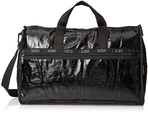 LeSportsac Large Weekender Bag, Black Crinkle Patent, One Size by LeSportsac