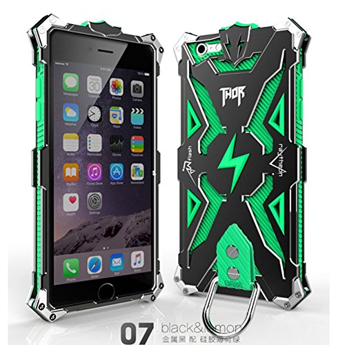 Iphone 6 Plus 6s Plus Case, Lwang Outdoor Sports Strong Protective Case for Iphone 6 Plus 6s Plus,[tempered Glass Screen Protector][silicone Case][aviation Aluminum Cover] (Thor Black/green) (Cover Thor)