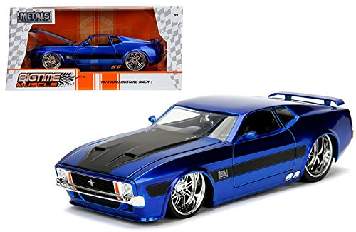 NEW 1:24 W/B JADA TOYS BIGTIME MUSCLE COLLECTION - 1973 Ford Mustang Mach 1 Blue with Black Stripes Diecast Model Car By Jada Toys