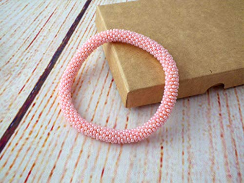 Pink Bead Crochet Roll it On Beaded Bracelet, Valentines Day Gifts for Girlfriend