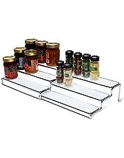 Deco Brothers RK-022-1 FBA_RK-022-1 DecoBros 3 Tier Expandable Cabinet Spice Rack Step Shelf Organizer (12.5~25 Inch), Chrome
