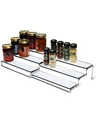 DecoBros 3 Tier Expandable Cabinet Spice Rack Step Shelf Organizer (12.5 ~ 25 Inch), Chrome