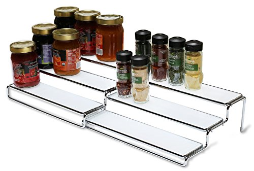 DecoBros 3 Tier Expandable Cabinet Spice Rack Step Shelf Organizer (12.5 ~ 25 Inch), Chrome (Spice Cabinet Organizer)