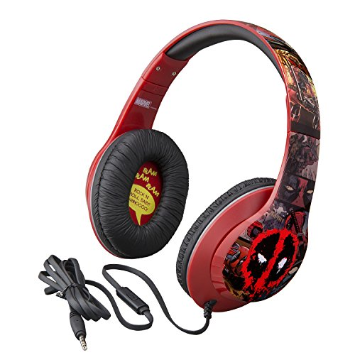 Marvel Over The Ear Wired Headphones with Built in Microphone Quality Sound from The Makers of iHome (Deadpool) -