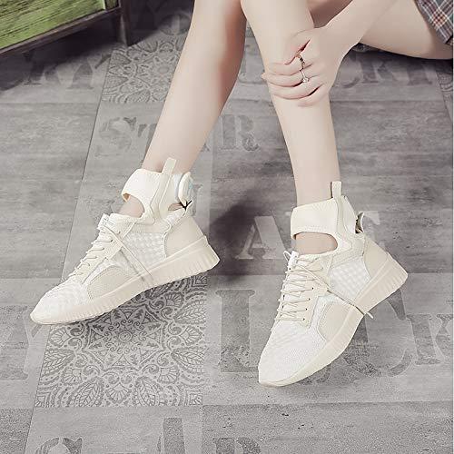 Tonda E Comfort Zhznvx Bianco Punta Donna Pu Piatto Scarpe Da Beige nero Black Sneakers Tacco poliuretano Estate Primavera 88qOYf