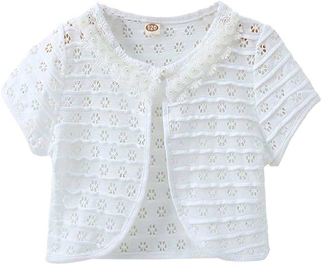 ASHER FASHION Kids Girls Lace Bolero Shrugs Short Sleeve Knit Cardigan Sweater Lightweight Dress Cover Up
